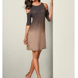VENUS Brown Tan Ombré Cold Shoulder Mini Dress S